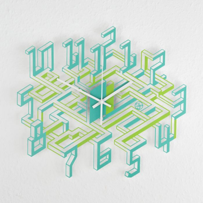 Ausgefallene Wanduhr mit 3D-Effekt