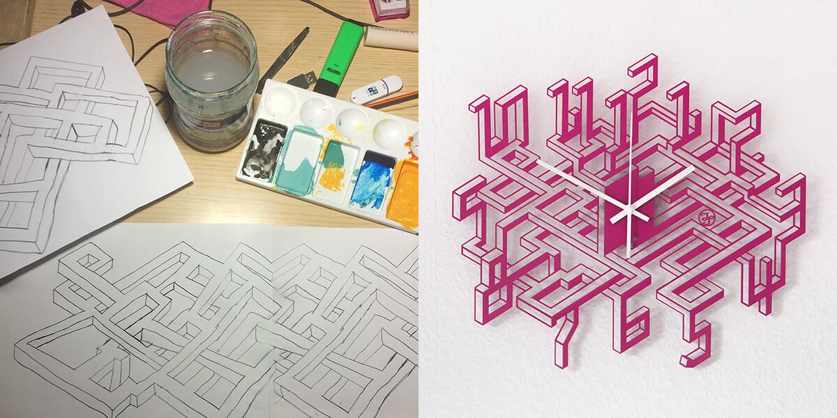 """Geometrische Wanduhr aus der Serie """"Labyrinth"""""""